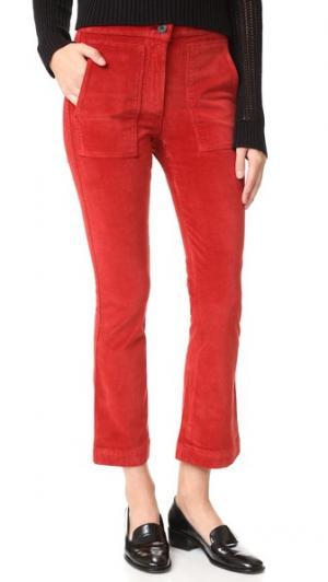 Укороченные брюки W3 с накладным расклешенным элементом 3x1. Цвет: красная хна