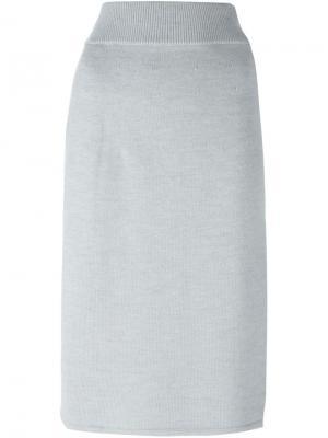 Вязаная юбка с запахом Charlie May. Цвет: серый