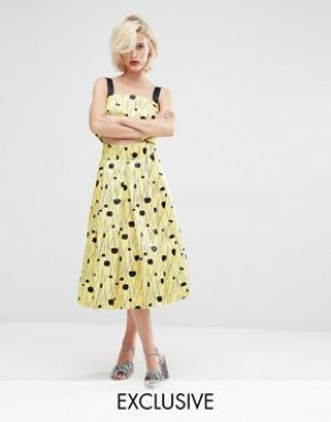Horrockses Пышная юбка миди. Цвет: желтый