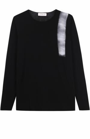 Хлопковый джемпер тонкой вязки с контрастной отделкой Isabel Benenato. Цвет: черный