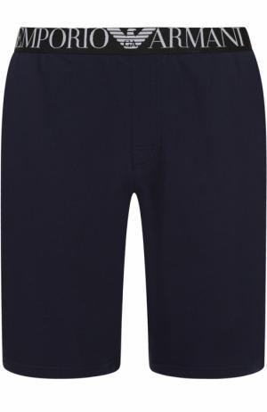 Хлопковые домашние шорты свободного кроя Emporio Armani. Цвет: темно-синий