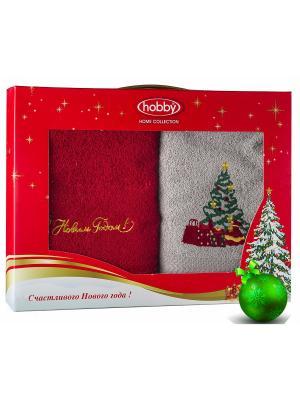 Махровое полотенце в коробке 50х90*2 Новый год, V13 HOBBY HOME COLLECTION. Цвет: серый, красный