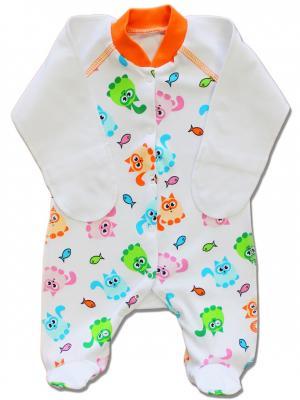 Комбинезон нательный для малыша LalaBaby. Цвет: оранжевый