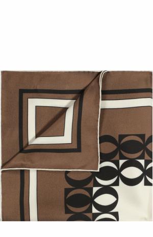 Шелковый платок с узором Tom Ford. Цвет: коричневый