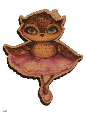 Сова-балерина (деревянный значок в упаковке) Эксмо. Цвет: светло-коричневый