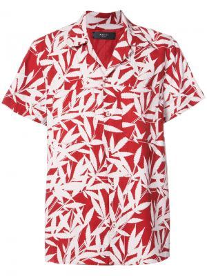 Рубашка с короткими рукавами и тропическим принтом Amiri. Цвет: красный