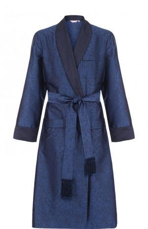 Шелковый халат с поясом и шалевым воротником Derek Rose. Цвет: голубой