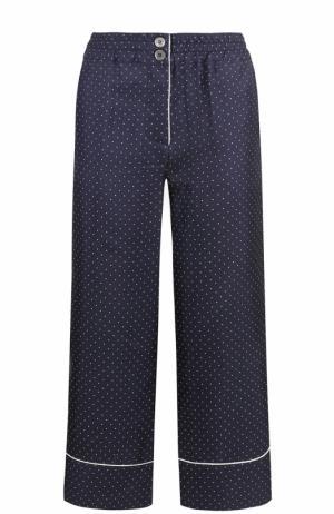 Укороченные шелковые брюки в пижамном стиле Erika Cavallini. Цвет: синий