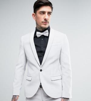 Noose & Monkey Супероблегающий пиджак из бархата. Цвет: белый