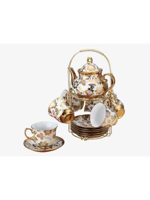 Чайный набор фарфор 15 предметов Florance. Цвет: белый, золотистый