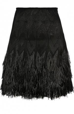 Многоярусная юбка А-силуэта с бахромой Alaia. Цвет: черный
