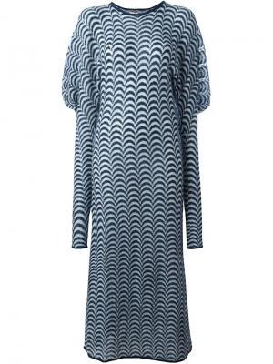Трикотажное платье с рукавами фонариком And Re Walker. Цвет: синий