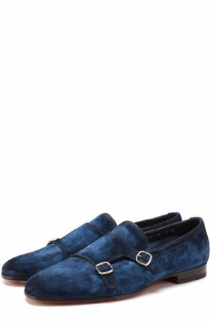 Замшевые монки с камуфляжным принтом Santoni. Цвет: темно-синий