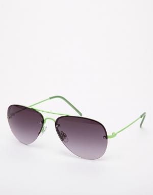 Неоновые солнцезащитные очки-авиаторы Trip. Цвет: зеленые зеркальные