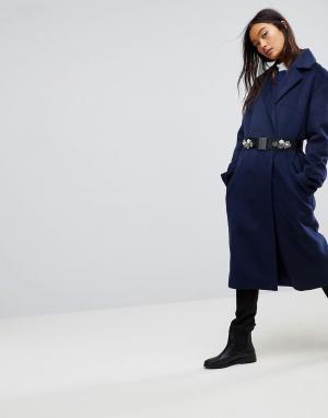 ASOS Двубортное пальто с брошью на поясе. Цвет: темно-синий