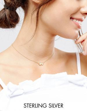 ASOS Ожерелье из позолоченного серебра с подвеской близнецы. Цвет: медный