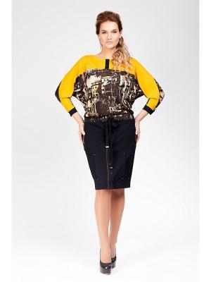 Платье Amelia Lux. Цвет: черный, горчичный