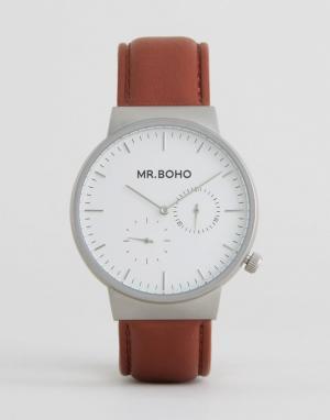 Mr Boho Часы с коричневым кожаным ремешком. Цвет: коричневый