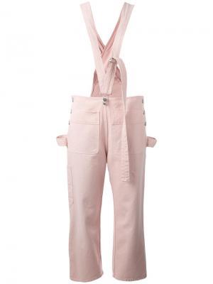 Укороченный комбинезон с подтяжками Mm6 Maison Margiela. Цвет: розовый и фиолетовый