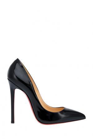 Туфли из лакированной кожи Pigalle 120 Christian Louboutin. Цвет: черный