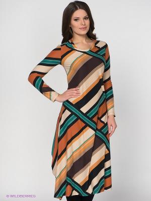 Платье МадаМ Т. Цвет: бежевый, зеленый, рыжий