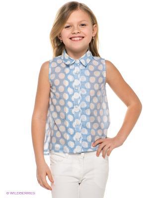 Блузка Gulliver. Цвет: голубой, белый