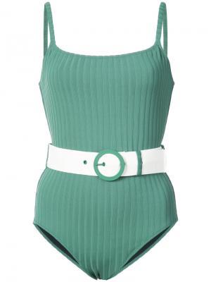 Слитный купальник  Nina Solid & Striped. Цвет: зелёный