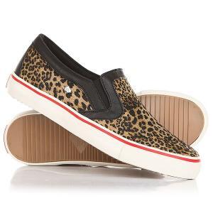 Слипоны женские British Knigths Jam Brown Leopard/Black/Red Knights. Цвет: черный,светло-коричневый
