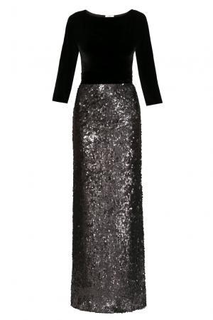 Бархатное платье в пайетках с поясом 156752 Y.amelina. Цвет: черный