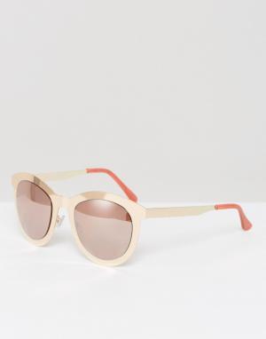 Missguided Солнцезащитные очки в металлической оправе. Цвет: золотой
