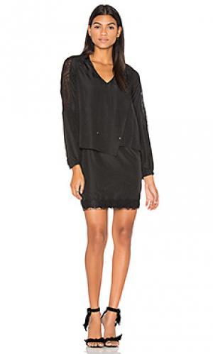 Платье с запахом длинным рукавом и кружевами на подоле IKKS Paris. Цвет: черный