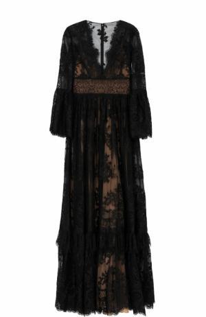 Кружевное платье-макси с V-образным вырезом Zuhair Murad. Цвет: черный