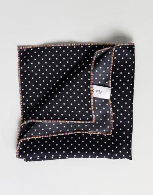 Paul Smith Шелковый черный платок в горошек для нагрудного кармана. Цвет: черный