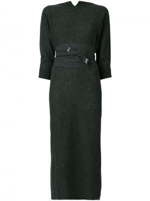 Платье с поясом и необработанным подолом Daniela Gregis. Цвет: серый