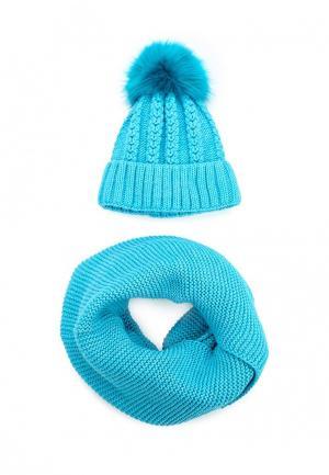 Комплект шапка и снуд Fete. Цвет: голубой