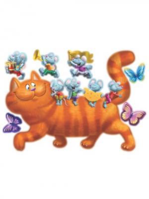 Набор наклеек  Кошки-мышки, 7 шт DECORETTO. Цвет: белый, серый, оранжевый