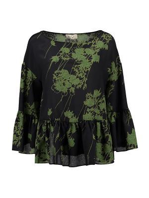 Блуза KI6 Who are you. Цвет: темно-зеленый