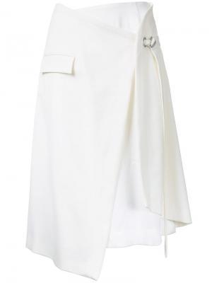 Многослойная юбка с запахом Taro Horiuchi. Цвет: белый