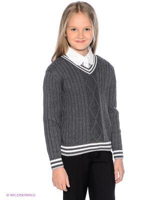 Пуловер PELICAN. Цвет: темно-серый, белый