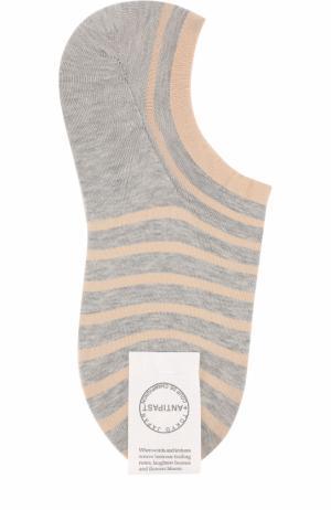 Хлопковые носки в контрастную полоску Antipast. Цвет: светло-серый