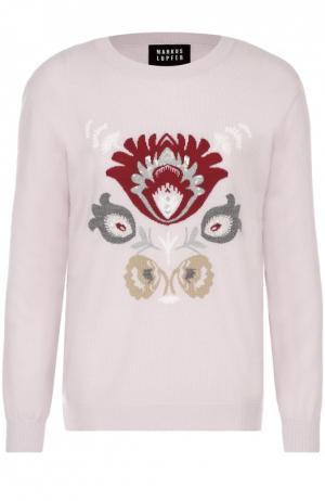 Удлиненный пуловер с контрастным принтом и вышивкой пайетками Markus Lupfer. Цвет: розовый