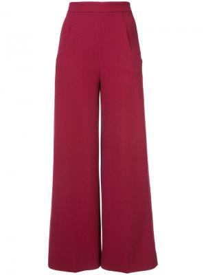 Расклешенные брюки с высокой талией Roland Mouret. Цвет: красный