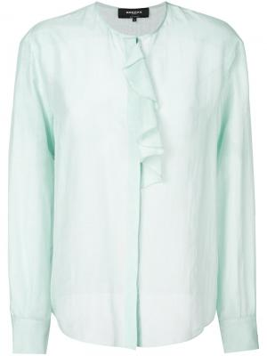 Блузка с рюшами Rochas. Цвет: синий