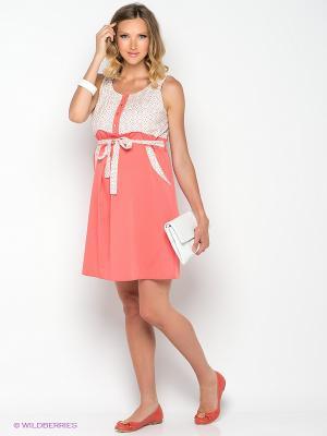 Платье Gemko. Цвет: коралловый, белый, коричневый