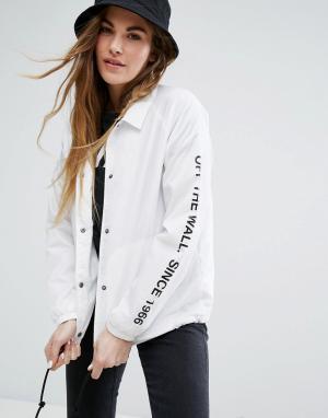 Vans Белая спортивная куртка. Цвет: белый