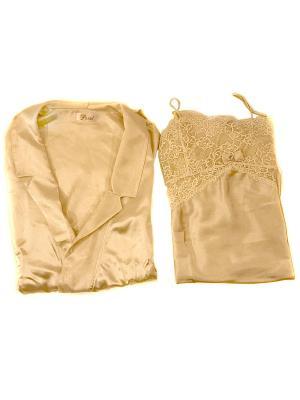 Комплект пеньюар и сорочка La Pastel. Цвет: золотистый