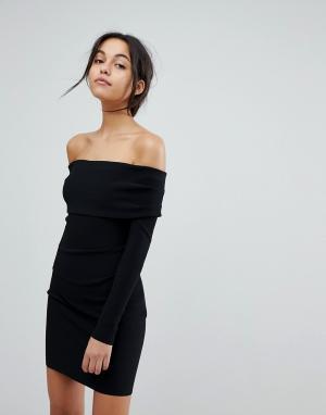 Bec & Bridge Платье мини с открытыми плечами. Цвет: черный