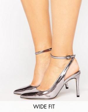 Faith Wide Fit Туфли на каблуке для широкой стопы. Цвет: серебряный