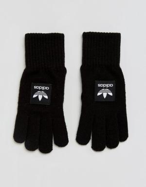 Adidas Originals Черные перчатки с контрастным названием бренда. Цвет: черный