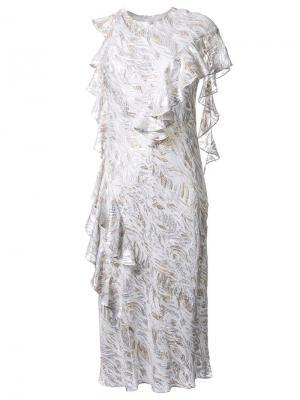 Платье с эффектом металлик Bianca Spender. Цвет: белый